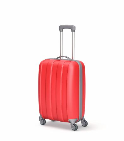 白に隔離された赤いスーツケース。3D レンダリング