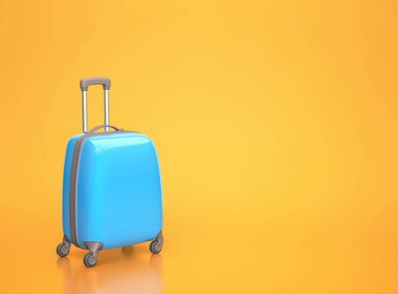 Blue travel suitcase on orange background with copy space. 3D rendering