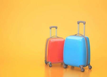 Two travel suitcases on orange background. 3D rendering