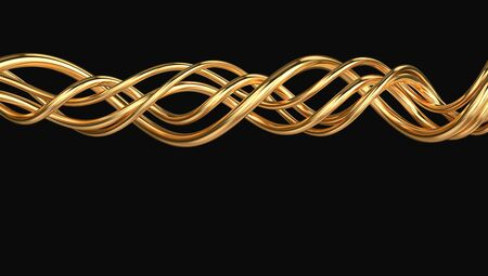 Golden shiny twisted lines isolated on black. 3D rendering Zdjęcie Seryjne