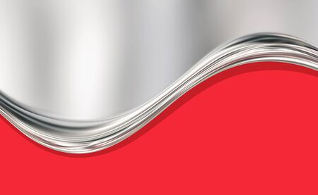 Abstract silver and red background with liquid silver wave. 3D rendering Zdjęcie Seryjne
