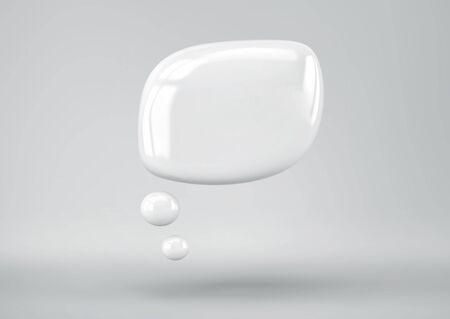 White speech bubble on gray background. 3D rendering