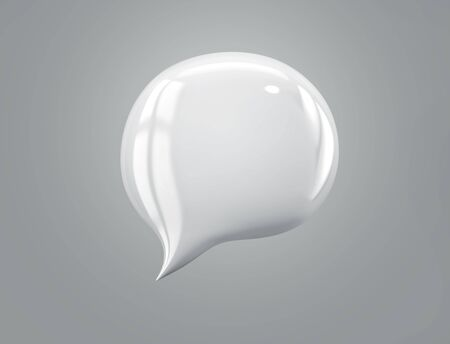 White speech bubble isolated on gray background. 3D rendering with clipping path