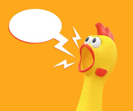 Screaming rubber chicken with speech bubble isolated on orange background. 3D rendering