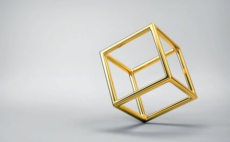 Abstract balancing gold cube on gray background. 3D rendering Zdjęcie Seryjne