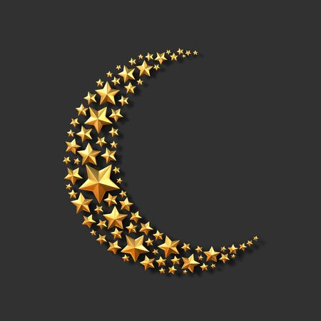 Golden stars in the shape of a crescent moon on black background. 3D rendering Zdjęcie Seryjne