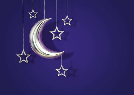 Silver crescent moon and stars on blue background. 3D rendering