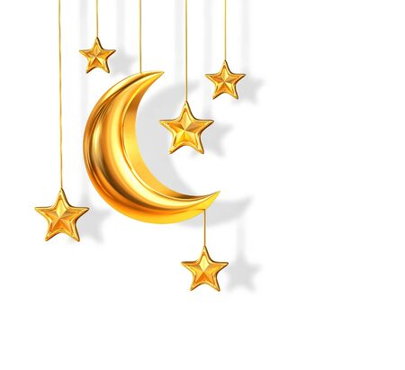 Golden crescent moon and stars isolated on white. 3D rendering with clipping path Stockfoto