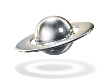Abstract metal planet, planet Saturn isolatef on white. 3D rendering with clipping path Zdjęcie Seryjne