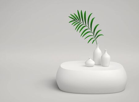 Abstract minimal background with vases and green plant branch. 3D rendering Stockfoto