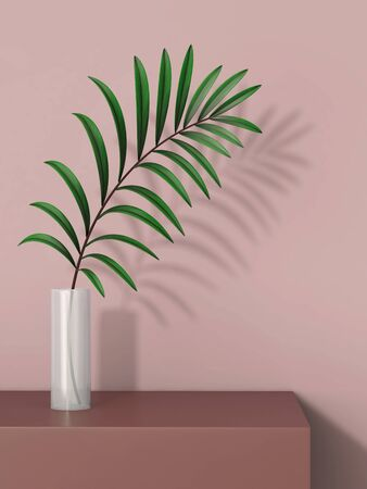 White glass vase with plant on the table. 3D rendering Stockfoto