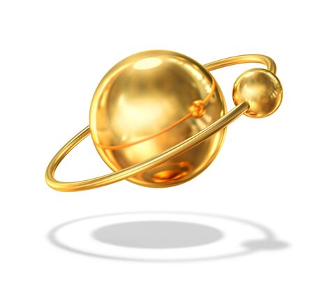 Abstract golden planet with satellite planet isolated on white. 3D rendering with clipping path