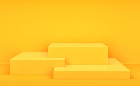 Yellow boxes, product display stand on orange background. 3D rendering Stockfoto