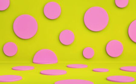 Polka dots studio background. Pink circles on a yellow green background. 3D rendering