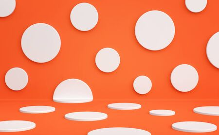 Polka dots studio background. White circles on a red orange background. 3D rendering