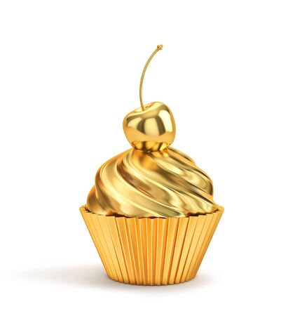 Golden cupcake with cherry isolated on a white. Stockfoto