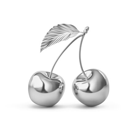 Two silver cherries with cherry leaf isolated on white. 3D rendering Zdjęcie Seryjne