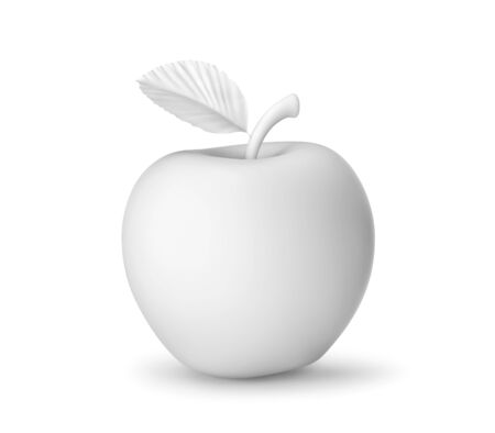 White apple isolated on white. 3D rendering