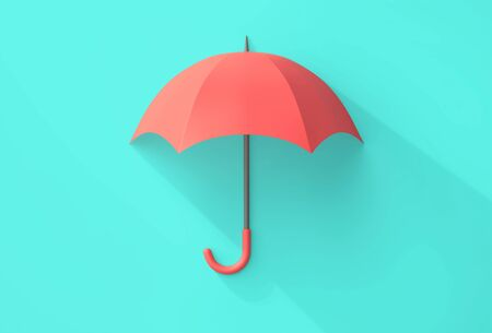 Red umbrella with shadow on turquoise background. Safety concept. 3D rendering Stockfoto