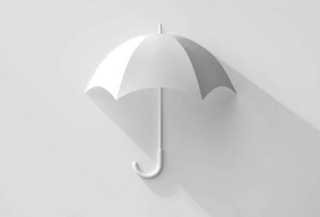 White umbrella with shadow. Safety concept. 3D rendering Stockfoto