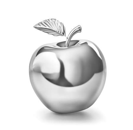 Silver apple isolated on white. 3D rendering with clipping path