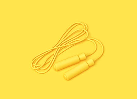 Fitness minimal concept. Yellow jumping rope on yellow backgroung. 3D rendering