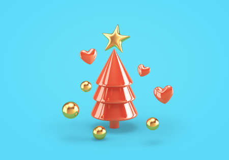 Abstract red christmas tree with golden star, spheres and hearts on blue background. 3D rendering