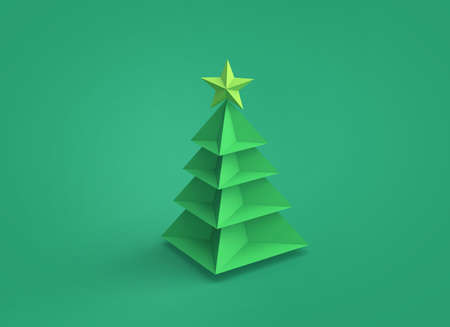 Paper christmas tree on green background. 3D rendering