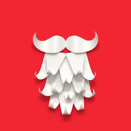 Paper Santa Claus beard and mustache isolated on red. Christmas greeting card. 3D rendering with clipping path Stockfoto