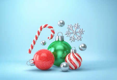 Christmas decor on blue background. Christmas balls, candy cane and silver snowflake. 3D rendering