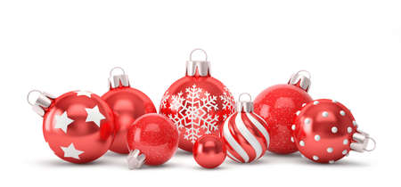 Red Christmas balls with different decorations isolated on white. 3D rendering