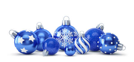 Blue christmas balls with different decorations isolated on white. 3D rendering Stockfoto