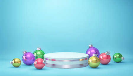 Podium, product stand with christmas balls on blue background. 3D rendering Stockfoto