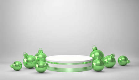 Podium, product stand with green christmas balls on gray background. 3D rendering