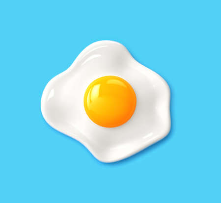 Fried egg isolated on blue background. 3D rendering