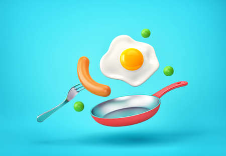 Flying fried egg, sausage on a fork, green pea and frying pan. 3D rendering