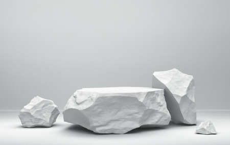 Ð¡omposition of white stones. Minimal background for product presentation. 3D rendering