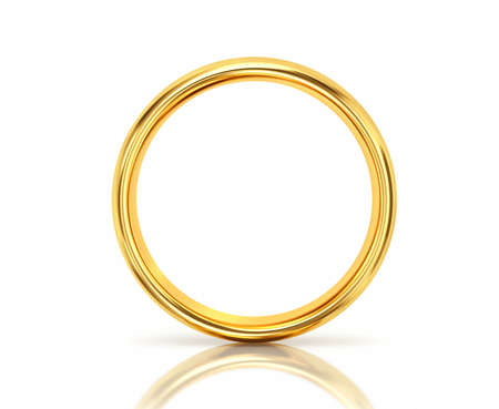 Golden ring with reflection isolated on white background. 3D rendering Banco de Imagens