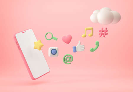 Smartphone with application icons and cloud on pastel pink background. 3D rendering