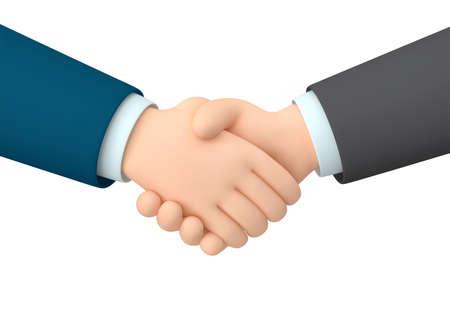 Business handshake isolated  white. 3D rendering 免版税图像