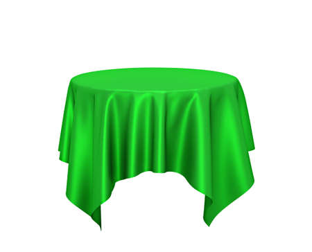 Green silk tablecloth, presentation pedestal isolated on white. 3D rendering