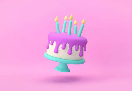 Flying cartoon cake with candles isolated on pink background. 3D rendering with clipping path