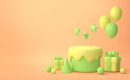 Festive background. Pastel yellow and green cake, balloons, gift boxes on beige background. 3D rendering