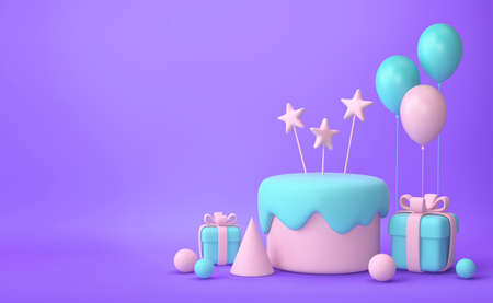 Festive background. Pastel pink and green cake, balloons, gift boxes on purple background. 3D rendering