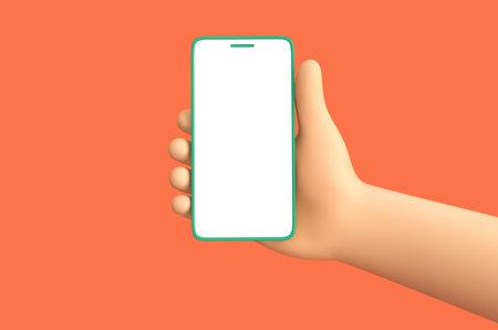 Cartoon hand holding smartphone isolated on burnt orange background. 3D rendering