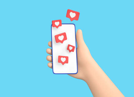 Cartoon hand holding smartphone with Like symbols isolated on blue background. Social media concept. 3D rendering