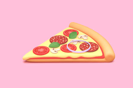 Delicious pizza slice with pepperoni, cheese, tomatoes and mushrooms  isolated on pink background. 3D rendering with clipping path