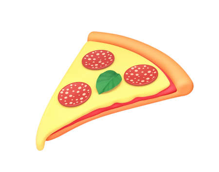 Cartoon pizza slice with cheese, pepperoni and basil isolated on white. 3D rendering with clipping path
