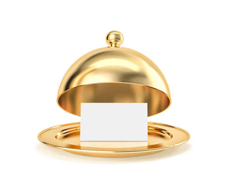 Golden cloche and tray with blank paper template isolated on white. 3D rendering with clipping path 免版税图像