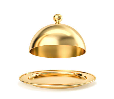 Golden tray and cloche isolated on white. 3D rendering with clipping path
